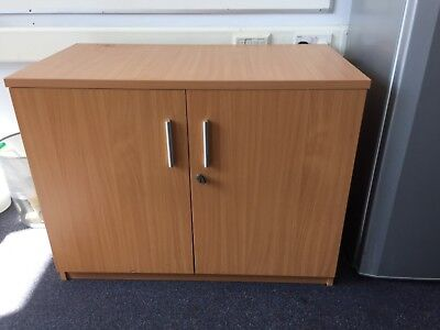 Filing cabinet desk height lockable two door storage cupboard