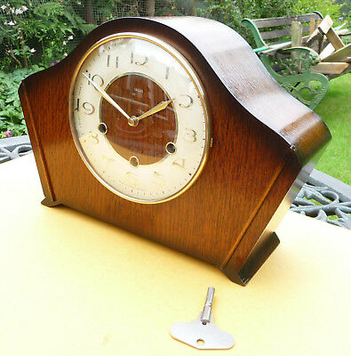 Restored Smiths westminster chime mantle clock with original  key. 1950s