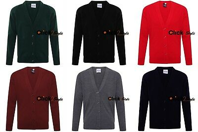 Kids Boys Girls School Uniform Knitted Cardigan V Neck Button UP Front Jumpers