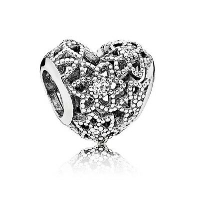 S925 Silver EURO Blooming Love Heart Flower CZ Charm by Pandora's Angels