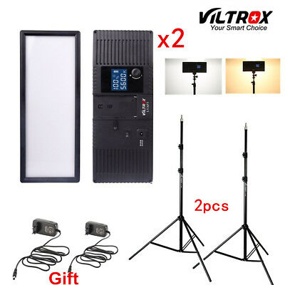 Viltrox L132T Bi-Color Dimmable LED Video Light x2 +2x Light Stand +2x AC Adapte