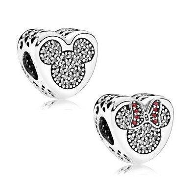 S925 Silver EURO Disney Mickey Minnie Mouse True Love Charm by Pandora's Angels