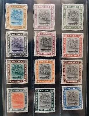 BRUNEI 1907 1c to $1 SG 23 - 33  Sc 13 // 36  river view set 11 MLH