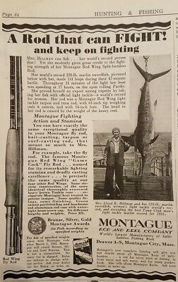 1932 MONTAGUE ROD & REEL CO. Original Vintage Advertising RED WING FLY ROD