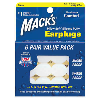 Mack's Pillow Soft Moldable Silicone Ear Plugs for Sleep, Travel, Work