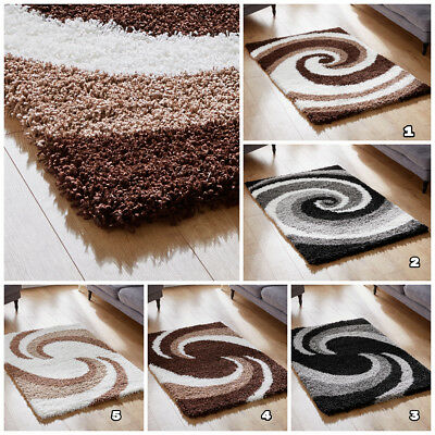 Small To Large Soft Thick Cosy Shaggy Clearance Rugs In Swirls Pattern Design