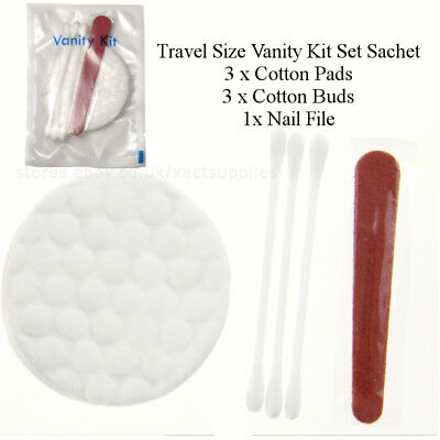 50/100 pcs Travel Size Vanity Kit: Cotton Buds / Pads, Nail File: Hotel Supplies