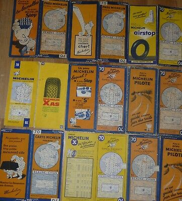 Cartes Michelin 70, Beaune-évian, lot de 9 de 1929 à 1972