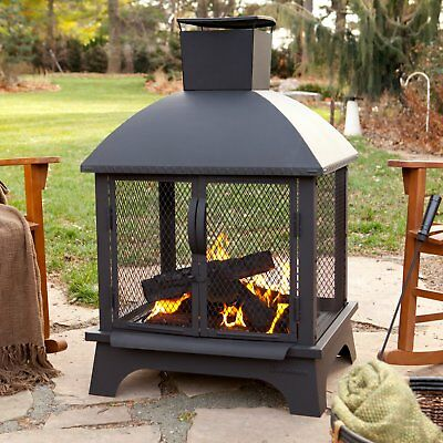 Outdoor Patio Fireplace Chiminea Back Yard Fire Pit Wood Burning Heater Firepit