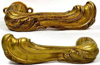 Old Antique Vtg Lever Style Solid Brass Door Handles Set Ornate Art Nouveau