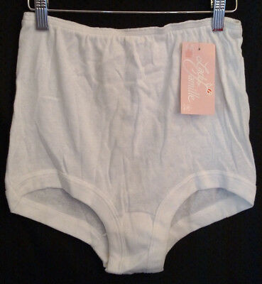 Vintage LADY CAMILLE Full Cotton Briefs Panty Underwear White Size 9 NWT U.S.A.