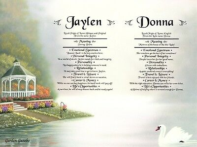 Swans Gazebo Personalized Double Name Meanings Love & Romance Anniversary  Print