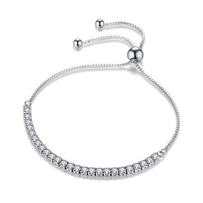 925 Sterling Silver Austrian Crystal Bead Clasp Bracelet Chain For Charm Women