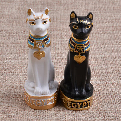 Vintage Egyptian Black Cat Bastet God Figurine Pharaoh Statue Home Decor Garden