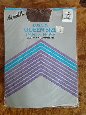 Vintage 1985 ADORABLE Pantyhose Queen Size  4X Coffee Style 15-842