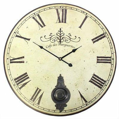 58cm Large Vintage Cream Distressed French Style Wall Clock with Moving Pendulum