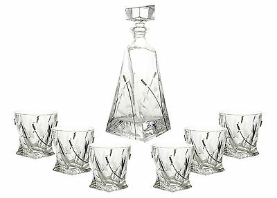 Fine Crystal Clear Glass Gold Liquor Decanter and Double Old Fashion Glass