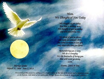 We Thought of You Today Personalized Memorial Poem for the Loss of a Loved One