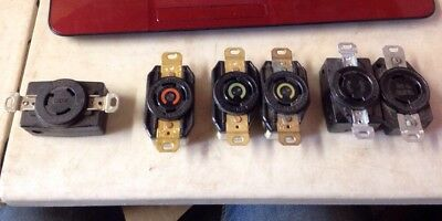 Lot (6) various  HUBBELL 20A 30A 125V 2P 3W 4W TWIST LOCK RECEPTACLE/s