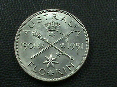 AUSTRALIA   1 Florin   1951  SILVER  UNC  ,   $ 2.99  maximum  shipping  in  USA