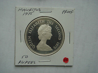 1975 MAURITUS Silver (35,0 g.,.9250 Silver) 50 Rupees-Mauritus Kestrel in PROOF.