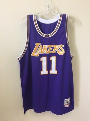 bd0c175038d Vtg Karl Malone #11 Los Angeles Lakers Mitchell&Ness Hardwood NBA Jersey  Purple