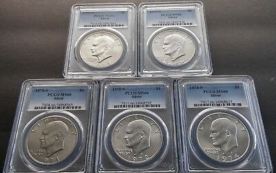 Completed Set of PCGS Silver Eisenhower Dollars MS66 5 coin IKE's 71,72,73,74,76