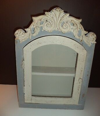 French Country Wall  Curio Cabinet   Vintage Style Shabby Chic