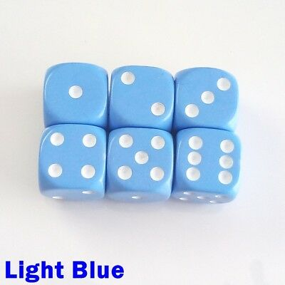 Opaque Dice Dot Spot Spotted 6x 16mm D6 Light Blue Warhammer War Game Table Top