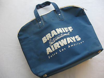 Braniff International Airways 1950's Travel Airline Carry On Bag Blue