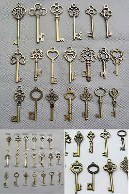 Skeleton Keys Antique Vintage Old Bulk Large Lock Key Brass Bronze 20 Set