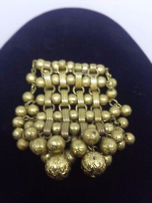 Miriam Haskell Style Dangling Brass Filigree Ball Dangle Brooch 4 3/4 x 4 1/2""