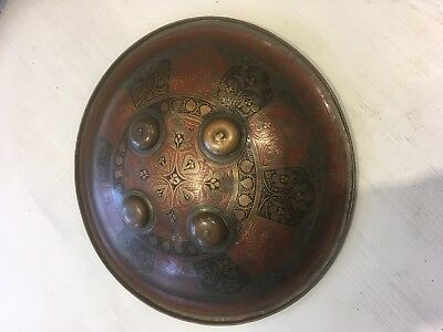 Antique Indian or Persian Battle Shield, 14 inch (36cm) Diameter
