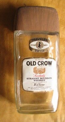 Old Crow 4/5 Quart Traveler Clear Glass Empty, Kentucky Bourbon Whiskey Bottle
