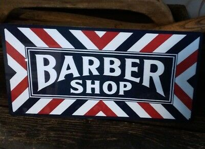 Barber shop metal sign vintage image retro Red White Blue 6 x 12 50027