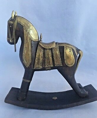 Rocking Horse Hand Carved Wood With Brass Decor