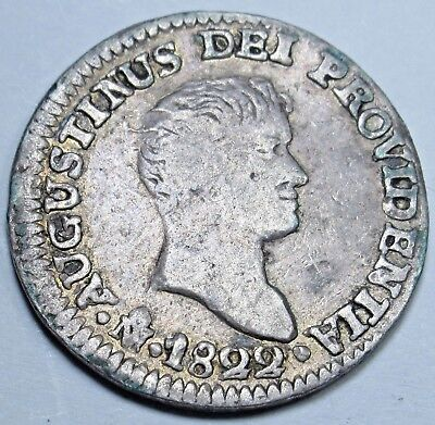 1822 JM Mexico EMPIRE OF ITURBIDE 1/2 Real Silver Spanish Half Reales Coin