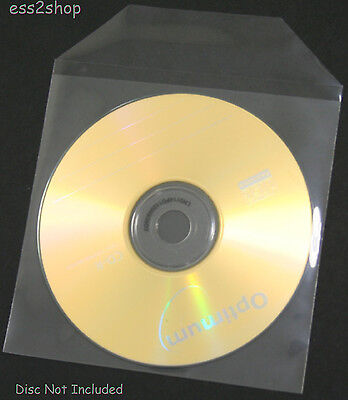 1000 Generic Thin CD DVD  Clear CPP Plastic Sleeve Bag with Flap 60 Micron