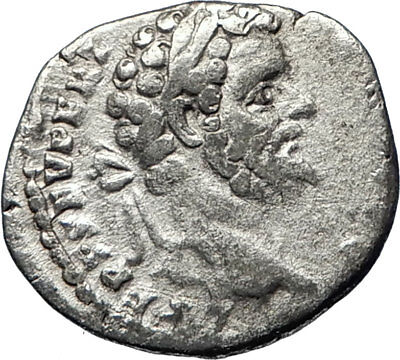 SEPTIMIUS SEVERUS 195AD Authentic Ancient Silver Roman Coin MARS WAR  i69737
