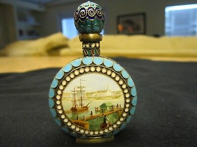 **exquisite Vintage** Russian Enameled 84 Silver Perfume Bottle