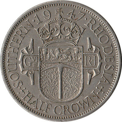 1947 Southern Rhodesia 1/2 Crown Large Coin KM#15b