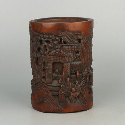 Chinese Exquisite Hand carved landscape character Carving bamboo Pen holder