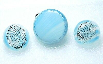 3 SMALL Antique Vintage BABY BLUE  & Gold  Glass BUTTONS