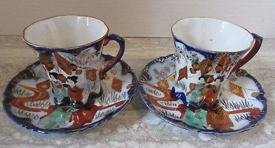Pair of Antique Japanese Porcelain Geisha Cups & Saucers Blue White