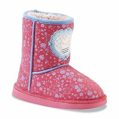 Stylish Adorable Peppa Pig TV Design Size 7 Girls Soft Mid-Calf Boots PINK NWT