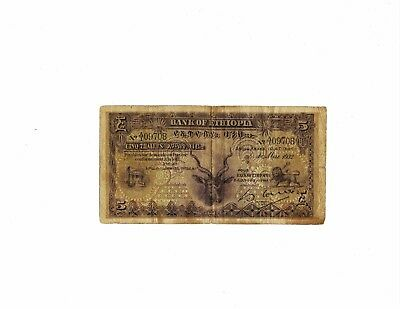 Ethiopia 1932 5 thalers banknote in circulated condition