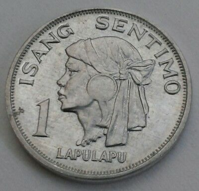 Philippines 1 Sentimo 1969. One Cent Penny coin. Isang Sentimo. Lapulapu.