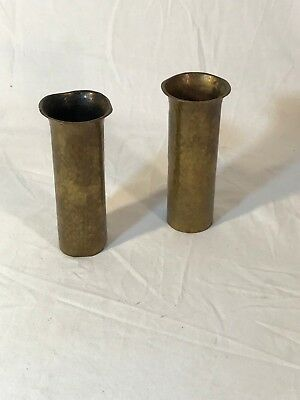 Pair of Antique 1900's Arts & Crafts Brass Turchin, New York Vases Mission
