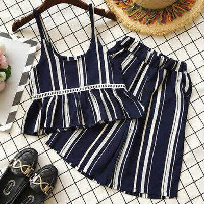 UK Stock Kids Baby Girls 2Pcs Striped Outfits Suspender Skirt Tops Pants Clothes
