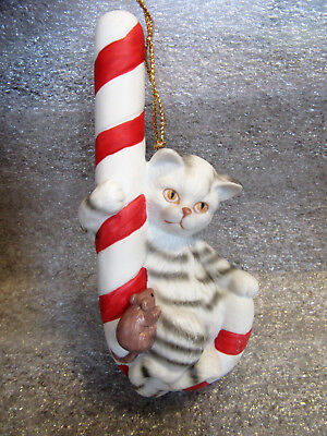 Porcelain Ceramic Cat and Mouse on Candy Cane Hanging Ornmanet Figurine